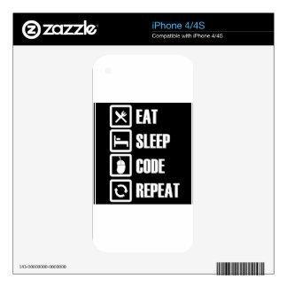 -eat-sleep-code-repeat skin for iPhone 4S