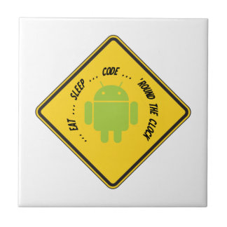 Eat ... Sleep ... Code ... 'Round The Clock Small Square Tile