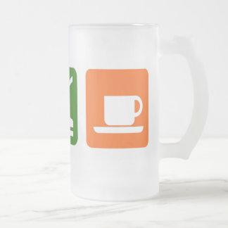Eat Sleep Coffee Frosted Glass Beer Mug