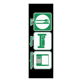 eat sleep computer (green) bookmark business card templates
