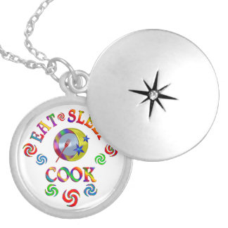 Eat Sleep Cook Silver Plated Necklace
