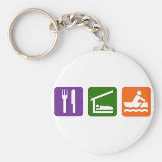 Eat Sleep Crewing Basic Round Button Keychain