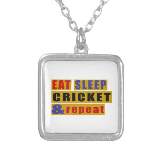 EAT SLEEP CRICKET AND REPEAT SILVER PLATED NECKLACE