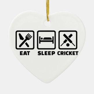 Eat sleep cricket ceramic ornament