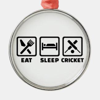 Eat sleep cricket metal ornament