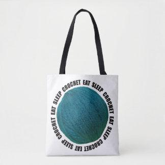 Eat Sleep Crochet Bold Yarn Ball Teal Crafts Tote Bag