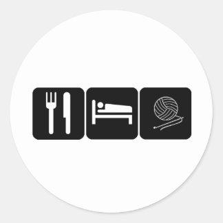 Eat, Sleep, Crochet Classic Round Sticker