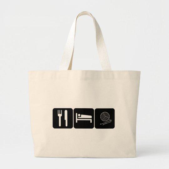 Eat, Sleep, Crochet Large Tote Bag