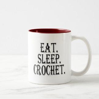 Eat. Sleep. Crochet. (mug) Two-Tone Coffee Mug