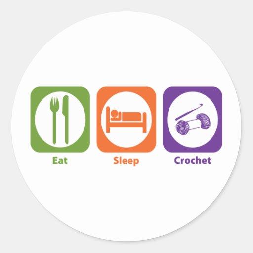 Eat Sleep Crochet Round Sticker