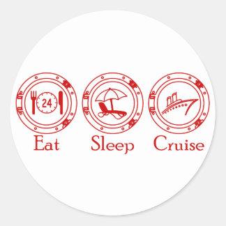 Eat Sleep Cruise Round Stickers