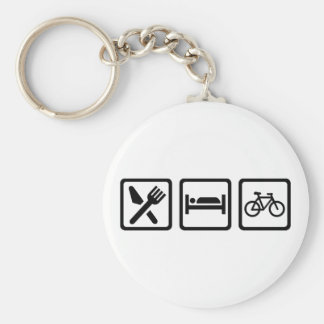 Eat Sleep Cycle Cycling Basic Round Button Keychain
