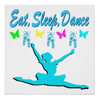 EAT, SLEEP, DANCE BALLERINA DESIGN POSTER