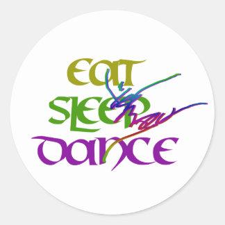 EAT SLEEP DANCE CLASSIC ROUND STICKER