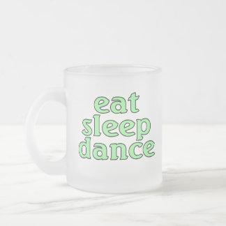 eat sleep dance frosted glass coffee mug