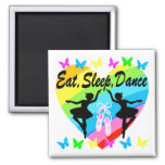 EAT, SLEEP, DANCE RAINBOW HEART AND BUTTERFLIES 2 INCH SQUARE MAGNET