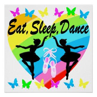 EAT, SLEEP, DANCE RAINBOW HEART AND BUTTERFLIES POSTER