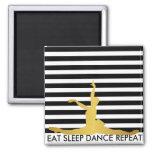 Eat Sleep Dance Repeat Black Stripes Ballerine 2 Inch Square Magnet