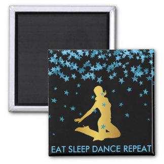 Eat Sleep Dance Repeat Blue Stars Modern 2 Inch Square Magnet