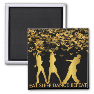 Eat Sleep Dance Repeat Golden Heart Modern 2 Inch Square Magnet