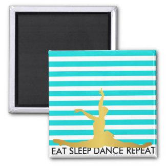 Eat Sleep Dance Repeat Mint Stripes Ballerine 2 Inch Square Magnet