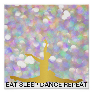 Eat Sleep Dance Repeat Pink Rose Mint Classic Ball Poster