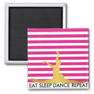 Eat Sleep Dance Repeat Pink Stripes Ballerine Magnet
