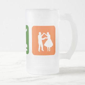 Eat Sleep Dancing Frosted Glass Beer Mug
