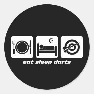 Eat sleep darts classic round sticker