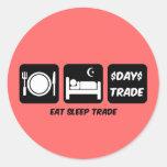 eat sleep day trader round sticker