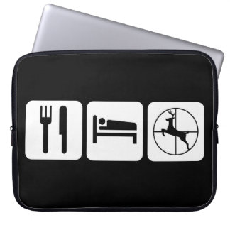 Eat Sleep Deer Hunt Funny Black and White Logo Laptop Sleeve