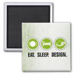 Eat Sleep Design (green) 2 Inch Square Magnet