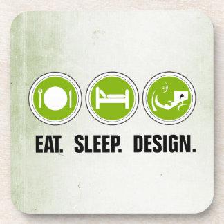 Eat Sleep Design (green) Beverage Coaster