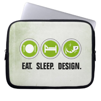 Eat Sleep Design (green) Computer Sleeve