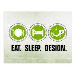 Eat Sleep Design (green) Post Card