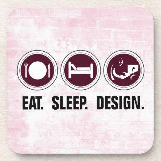 Eat Sleep Design (pink) Beverage Coaster