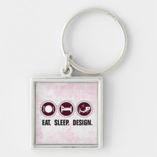 Eat Sleep Design (pink) Silver-Colored Square Keychain