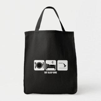 eat sleep dive grocery tote bag