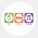 Eat Sleep Do Math Classic Round Sticker