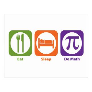 Eat Sleep Do Math Postcard