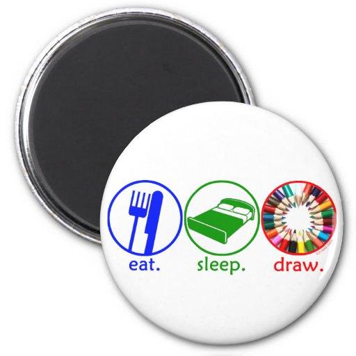 Eat Sleep Draw 2 Inch Round Magnet
