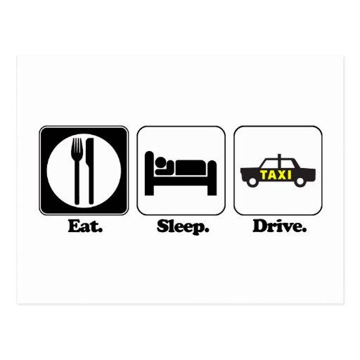 eat sleep drive taxi postcard