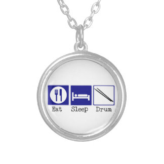 Eat, Sleep, Drum Silver Plated Necklace