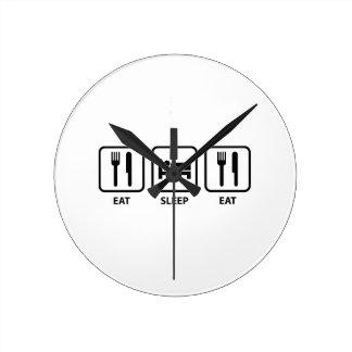 Eat Sleep Eat Round Wallclocks