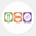 Eat Sleep Edit Video Round Sticker