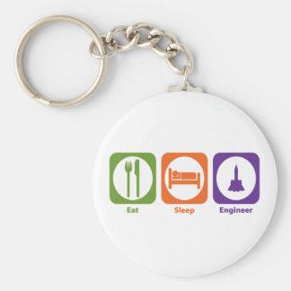 Eat Sleep Engineer Basic Round Button Keychain