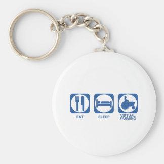 Eat Sleep Farm Basic Round Button Keychain