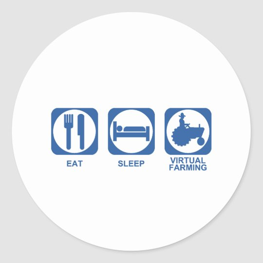 Eat Sleep Farm Classic Round Sticker