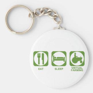 Eat Sleep Farm Key Chain