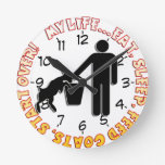 EAT SLEEP FEED GOATS - MY LIFE! ROUND WALL CLOCKS